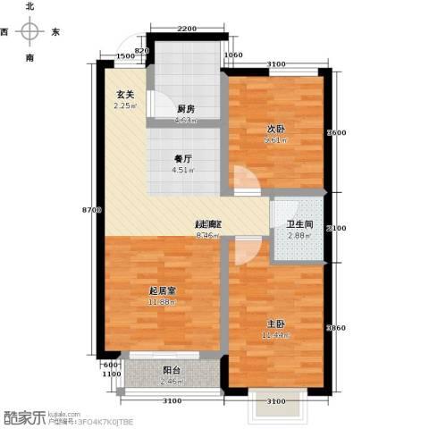 外滩森林2室0厅1卫1厨86.00㎡户型图