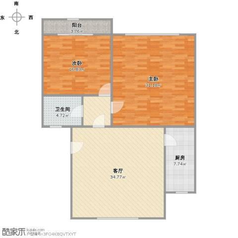 芳雅苑2室2厅1卫1厨136.00㎡户型图