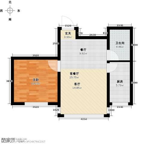 金鼎凤凰城1室1厅1卫1厨57.00㎡户型图
