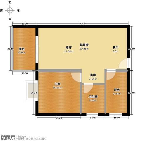 龙沐湾1号海景公馆1室0厅1卫1厨61.00㎡户型图