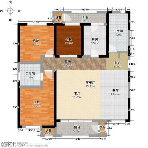意境兰庭3室1厅2卫1厨143.00㎡户型图