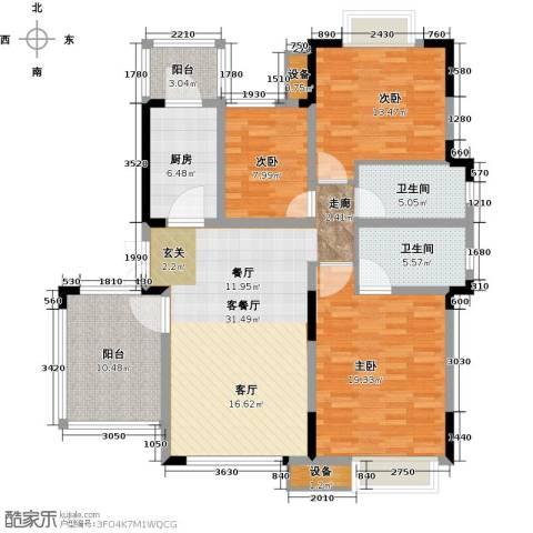 无锡万达文化旅游城3室1厅2卫1厨120.00㎡户型图