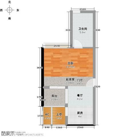 华贸中心1卫0厨44.00㎡户型图