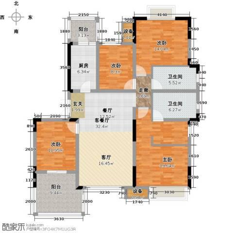 无锡万达文化旅游城4室1厅2卫1厨135.37㎡户型图