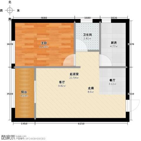 鹏渤城上城1室0厅1卫1厨50.00㎡户型图