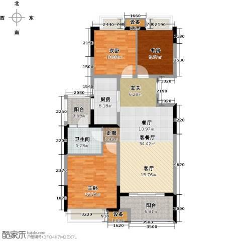 无锡万达文化旅游城3室1厅1卫1厨108.00㎡户型图