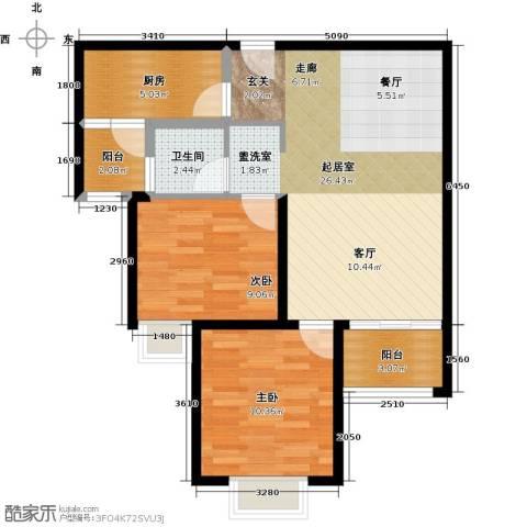 北辰红星国际广场2室0厅1卫1厨85.00㎡户型图