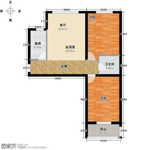 鹏渤城上城2室0厅1卫1厨80.00㎡户型图