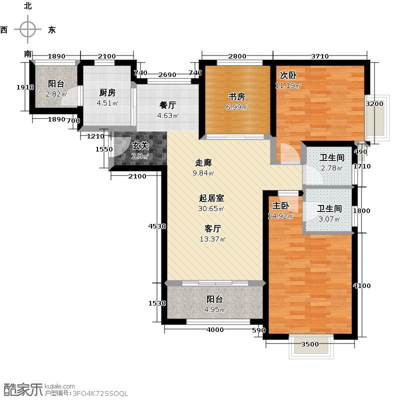 北辰红星国际广场119.62㎡B1户型3室2厅2卫