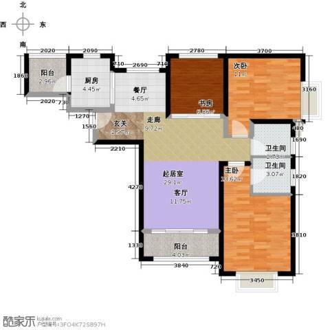 北辰红星国际广场3室0厅2卫1厨116.00㎡户型图
