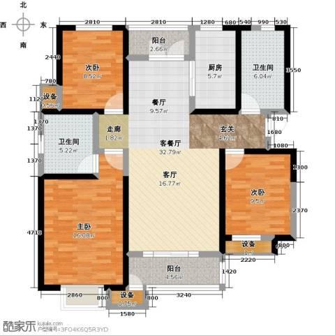 意境兰庭3室1厅2卫1厨126.00㎡户型图
