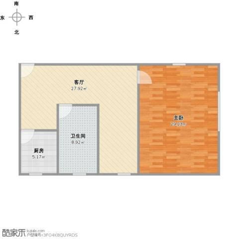 汪家井小区1室1厅1卫1厨95.00㎡户型图