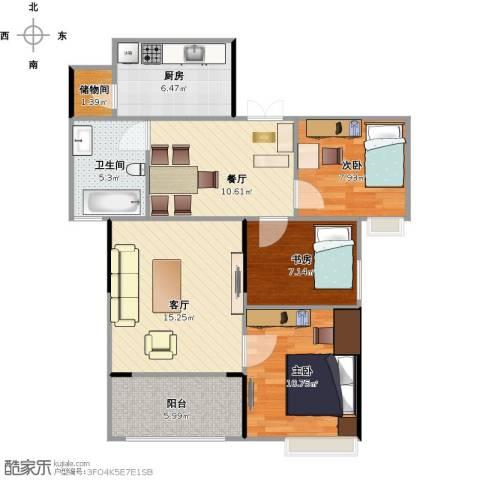 寰宇世家3室2厅1卫1厨77.00㎡户型图