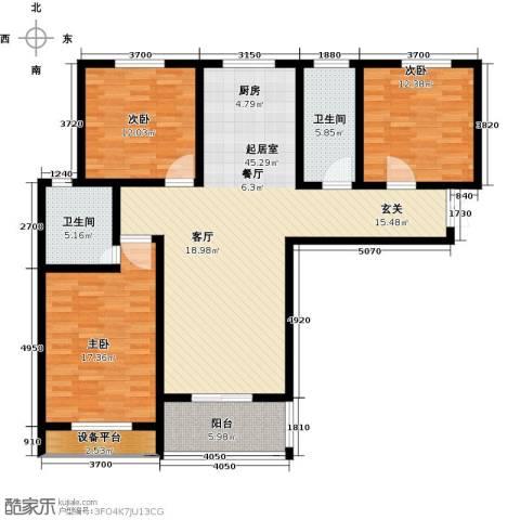 御江景城3室0厅2卫0厨122.00㎡户型图