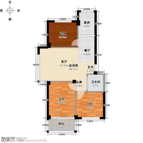 丽景家园3室0厅1卫1厨104.00㎡户型图