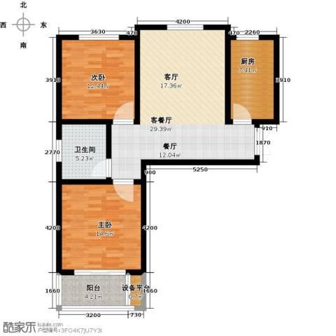御江景城2室1厅1卫1厨85.00㎡户型图
