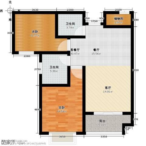 御江景城2室1厅2卫0厨85.00㎡户型图