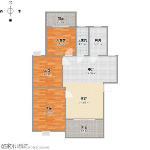 学府花园3室1厅1卫1厨110.00㎡户型图