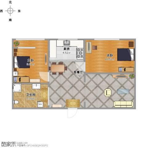 金湾山城2室1厅1卫1厨70.00㎡户型图