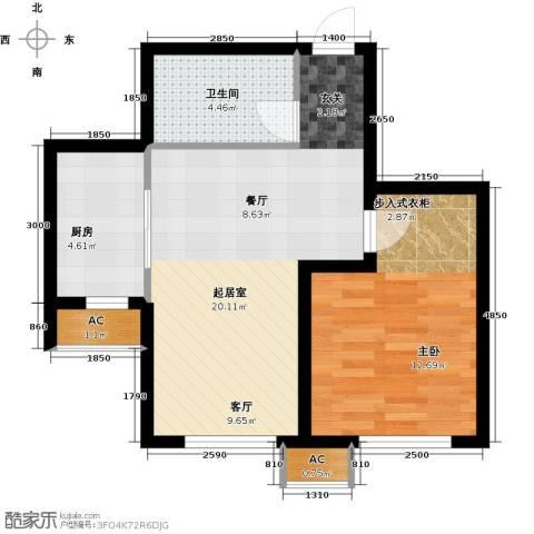 龙湖紫都城二期1室0厅1卫1厨60.00㎡户型图