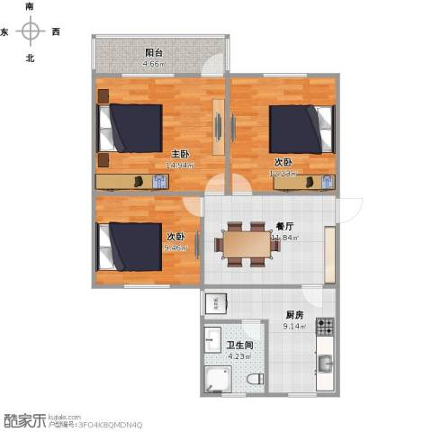 华家池校区3室1厅1卫1厨90.00㎡户型图