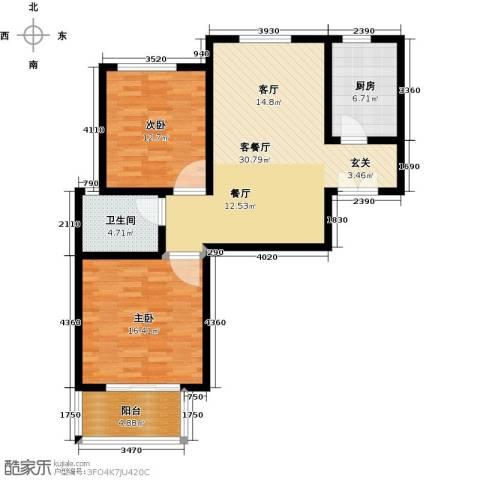 御江景城2室1厅1卫1厨88.00㎡户型图