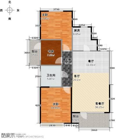 美的城3室1厅1卫1厨100.00㎡户型图