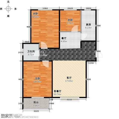 香溪雅地3室1厅1卫1厨89.00㎡户型图