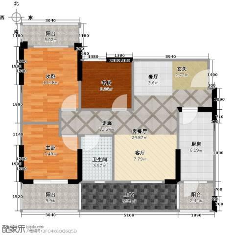 成都合院新青年3室1厅1卫1厨105.00㎡户型图
