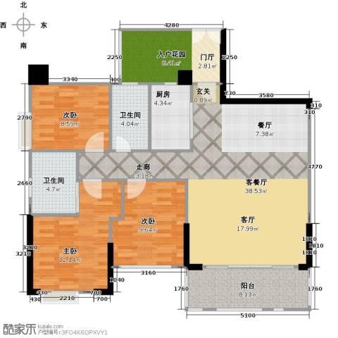 泰然环球时代中心3室1厅2卫1厨117.00㎡户型图