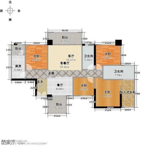 泰然环球时代中心4室1厅2卫1厨117.00㎡户型图