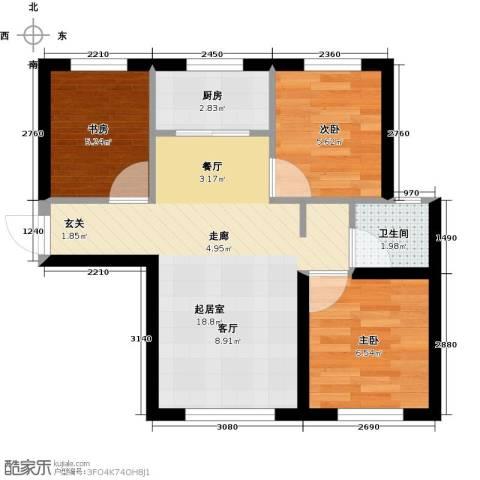 颐和花园三期3室0厅1卫1厨95.00㎡户型图