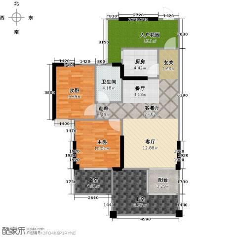 成都合院新青年2室1厅1卫1厨115.00㎡户型图