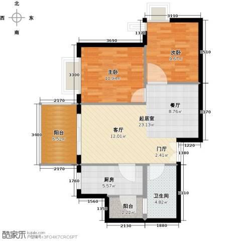 龙沐湾1号海景公馆2室0厅1卫1厨79.00㎡户型图