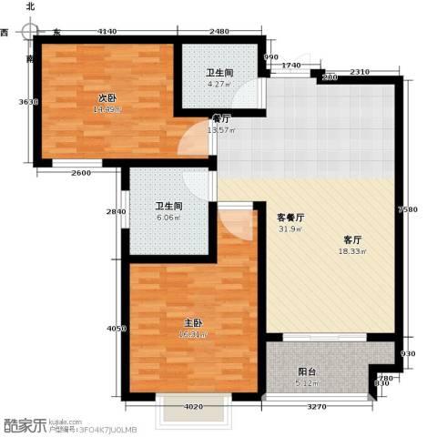御江景城2室1厅2卫0厨89.00㎡户型图