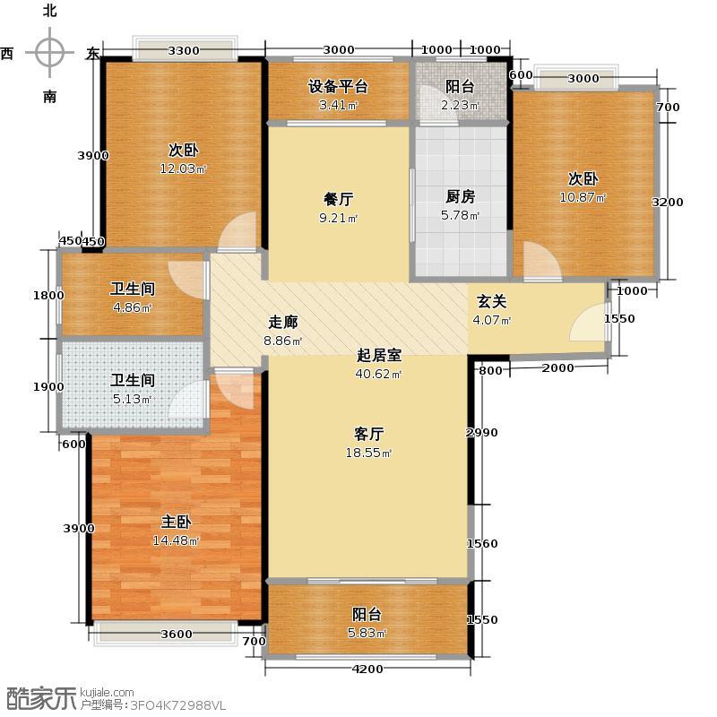 彩虹郡125.00㎡A户型 三房两厅两卫户型3室2厅2卫