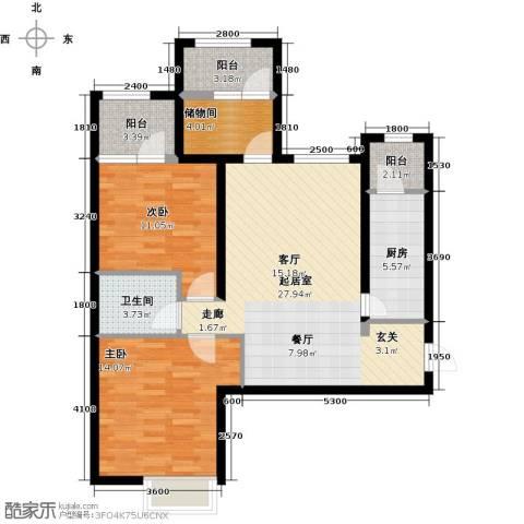 金辉・天鹅湾2室0厅1卫1厨98.00㎡户型图