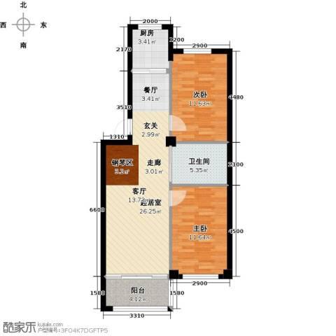 丽景家园2室0厅1卫1厨88.00㎡户型图