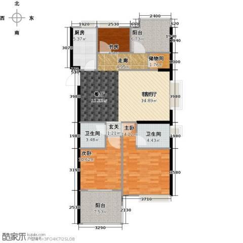 正荣・财富中心3室1厅2卫1厨107.00㎡户型图