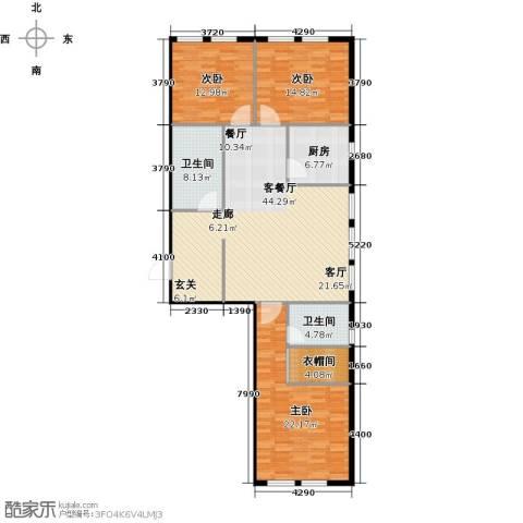 圣地秋实3室1厅2卫1厨128.00㎡户型图