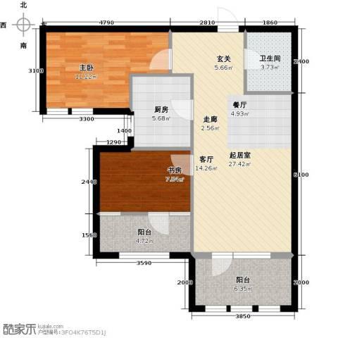 金辉・天鹅湾2室0厅1卫1厨87.00㎡户型图