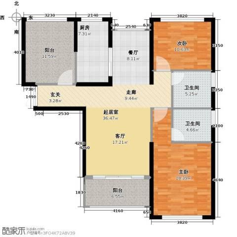 中科苑2室0厅2卫1厨113.00㎡户型图