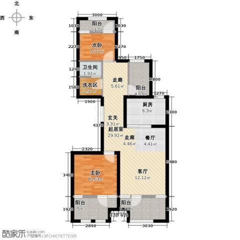 金辉・天鹅湾2室0厅1卫1厨99.00㎡户型图