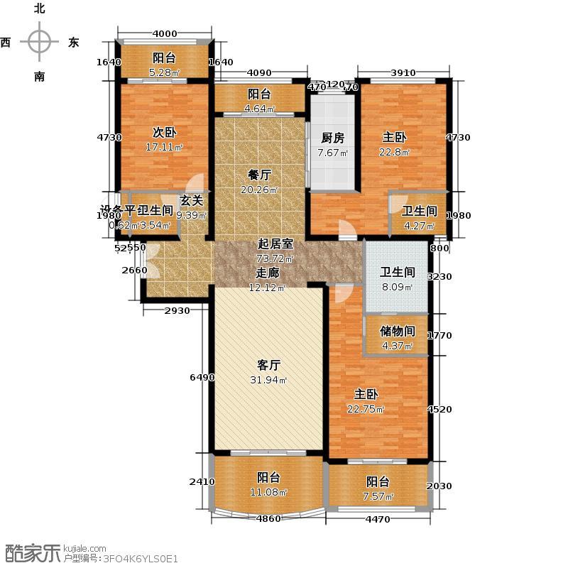 雅居乐星河湾217.00㎡T2户型217平米户型3室2厅3卫