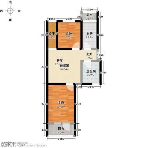 华新名筑2室0厅1卫1厨68.00㎡户型图