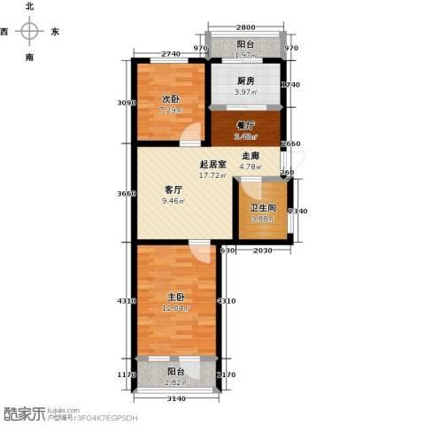 华新名筑2室0厅1卫1厨69.00㎡户型图