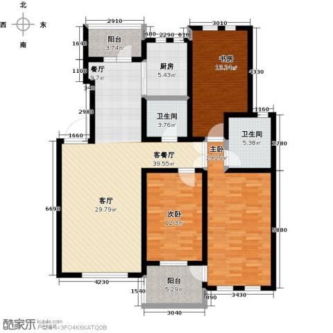绿地大溪地3室1厅2卫1厨126.00㎡户型图