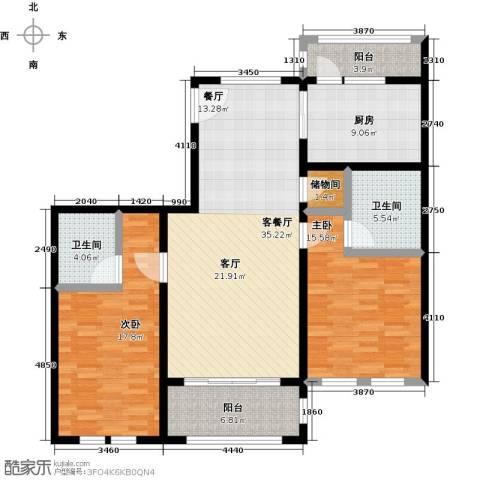 绿地大溪地2室1厅2卫1厨114.00㎡户型图