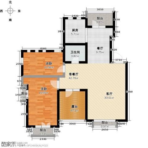 绿地大溪地2室1厅1卫1厨107.00㎡户型图