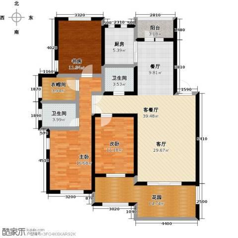 绿地大溪地3室1厅2卫1厨135.00㎡户型图